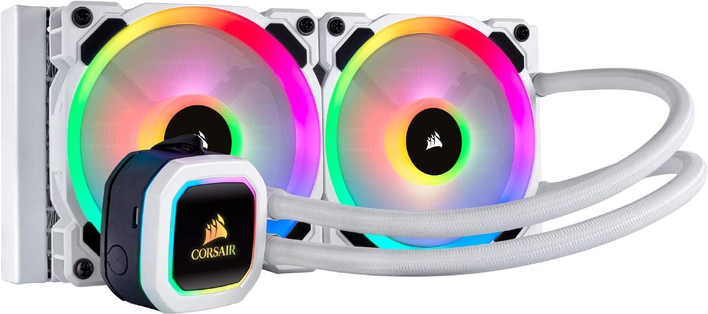 Corsair Hydro Series 100i RGB Platinum SE - Refrigerador Líquido con radiador de 240 mm (Dos LL120 RGB PWM Ventiladores, iluminación RGB, Control de Ventiladores con Software), Blanco
