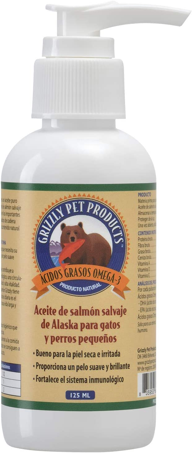 Natural Greatness Aceite de Salmón Salvaje de Alaska Grizzly. Producto Natural Puro para su Mascota (125 ml)