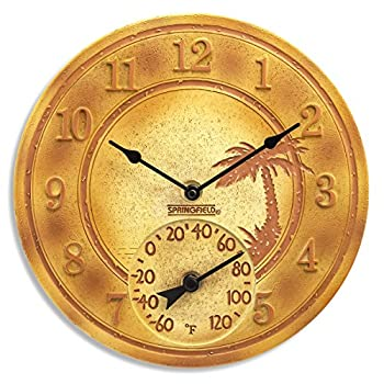 """Springfield 12"""" Terra Cotta Palm Tree Poly Resin Clock with Thermometer"""