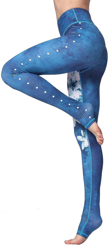 FLYCHEN Leggings Estampado Floral para Mujer Deporte Fitness Push Up Yoga de Alta Cintura Elásticos