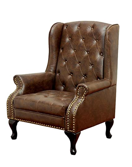 FA Furnishing Daplyn Button Tufted Wingback Chair And Ottoman Set In Rustic Brown  Leather