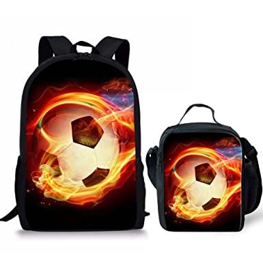 FOR U DESIGNS Fire Soccer Kids Backpack Set for School Elementary with  Lunch Box 3e7c4a5d28