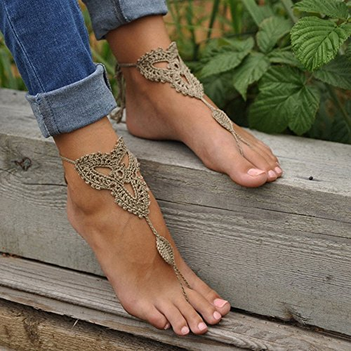 Women Khaki Barefoot Sandals Foot Jewelry Beach Wedding Dancing Ankle Bracelet Chain
