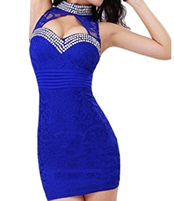 c0d31bde30 Women s Sexy Cheongsam Style Halter Neck Backless Lace Low-cut Package Hip  Slim Nightclub Mini Dress  Amazon.co.uk  Clothing