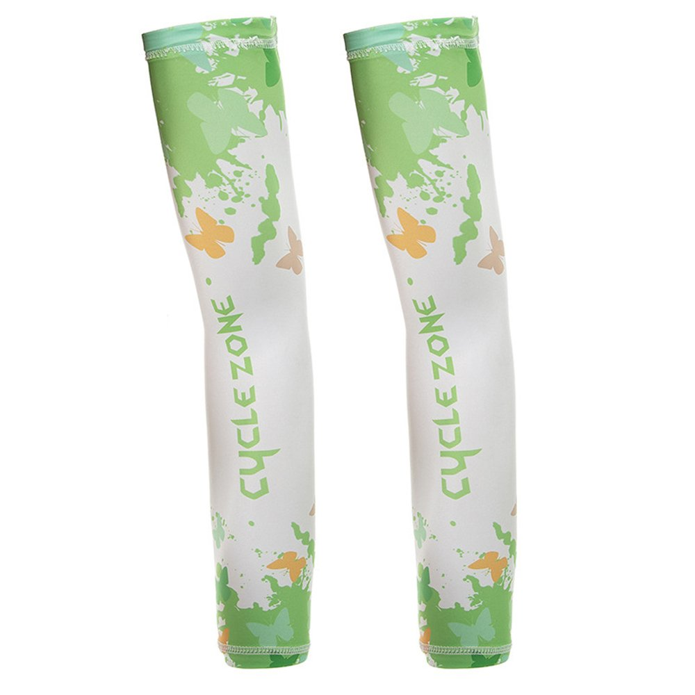 Sports Cooling Compression Arm Sleeves, UV Protection for Bike Hiking Golf Cycling Fishing Driving 1 Pair Green XL
