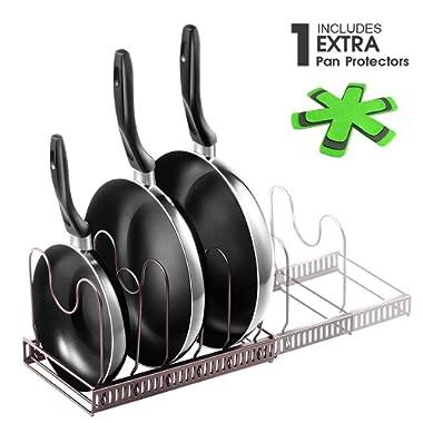 22.25 , Kitchen Cookware Pan Pot Lid Organizer Rack with 3 Pc Pan Protect Mat Kitchen Pan Organizer Rack Holder Total 7 Adjustable Compartments