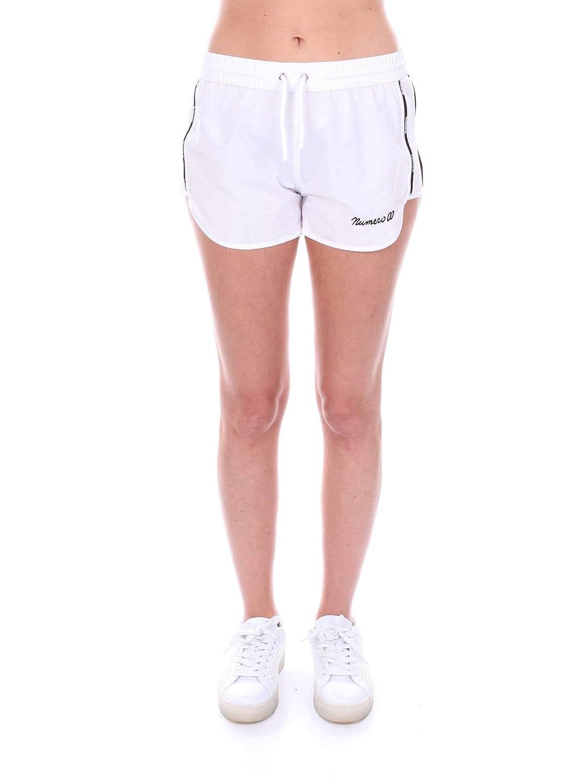 Numero00 Women's 2371WHITE White Polyester Shorts