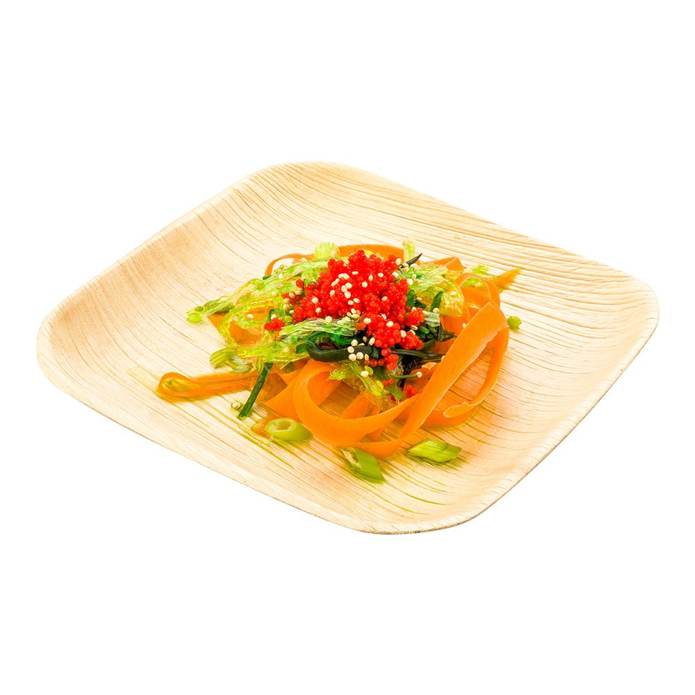 6-inch Eco-Friendly Indo Palm Leaf Square Plate: Perfect for Parties and Catering Events - Natural Color - Disposable Biodegradable Party Plates - 100-CT - Restaurantware