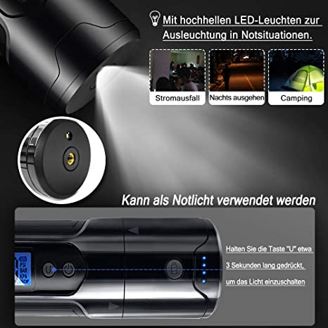 mit USB-Kabel f/ür Fahrrad Aufun Auto Luftpumpe Elektrischer Kompressor mit Akku 12V 150PSI Luftkompressor Tragbare Reifenpumpe LCD Display Digital Manometer Motorrad B/älle