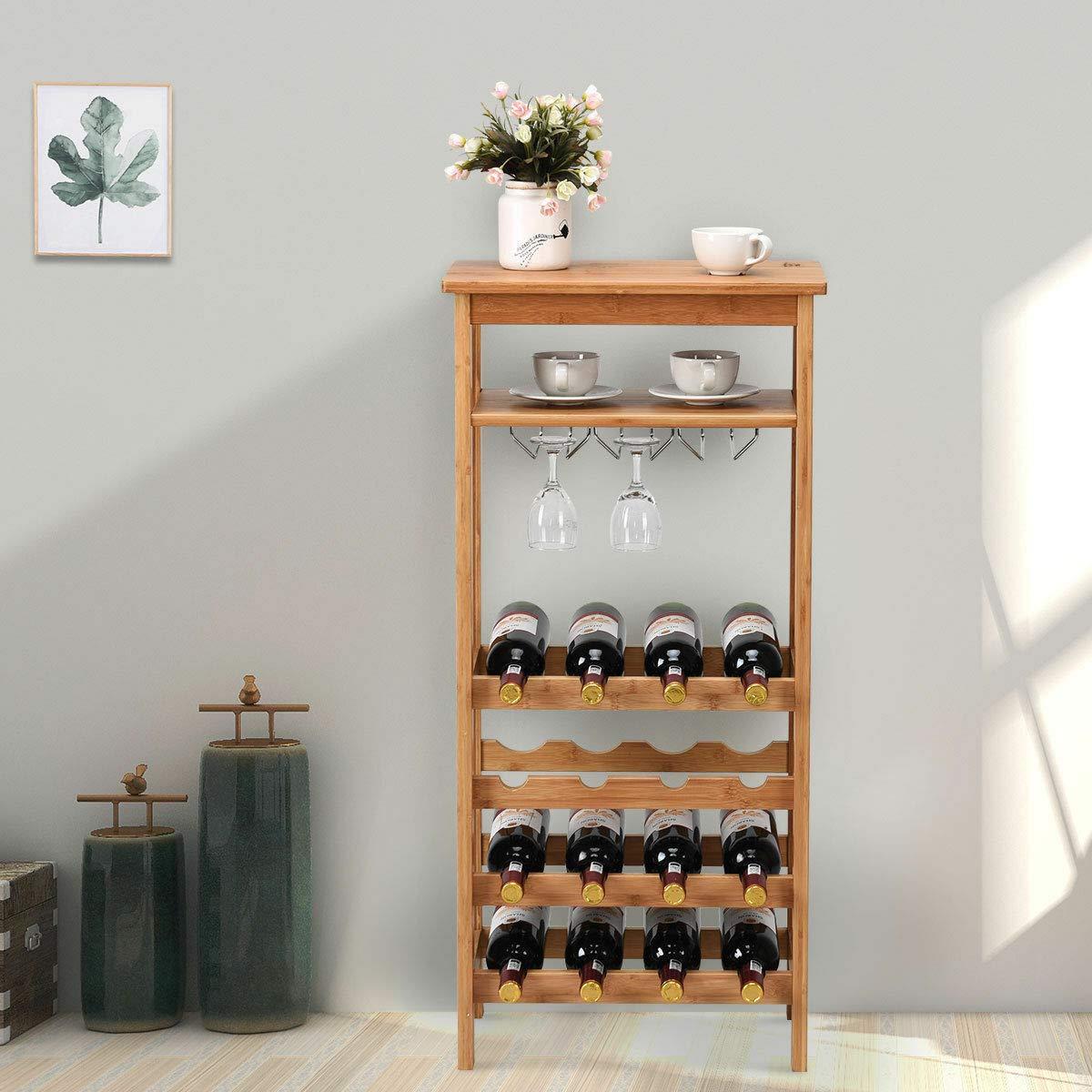 Stark Item 16 Bottles Bamboo Wine Rack Storage Display Shelves W/Glass Hanger & Table Top