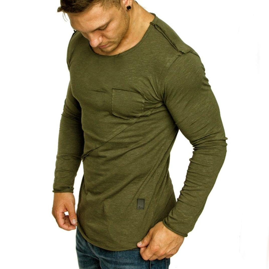vermers Clearance Men Long Sleeve T Shirts - Casual Beefy Muscle Button Basic Solid Blouse Tee Shirt Tops(XL, Army Green)