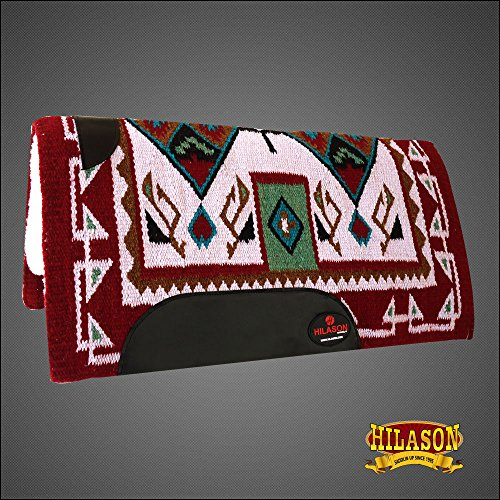 HILASON Made in USA Western Wool Shock Buster Saddle Blanket Pad Crimson Beige