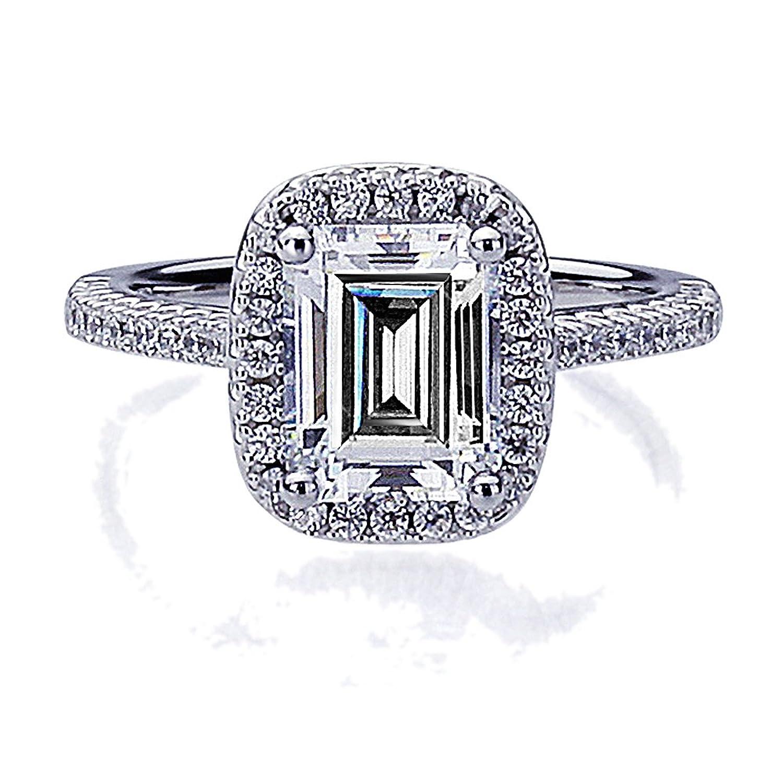 Amazon.com: Platinum Plated Sterling Silver 2.5ct Emerald Cut CZ ...