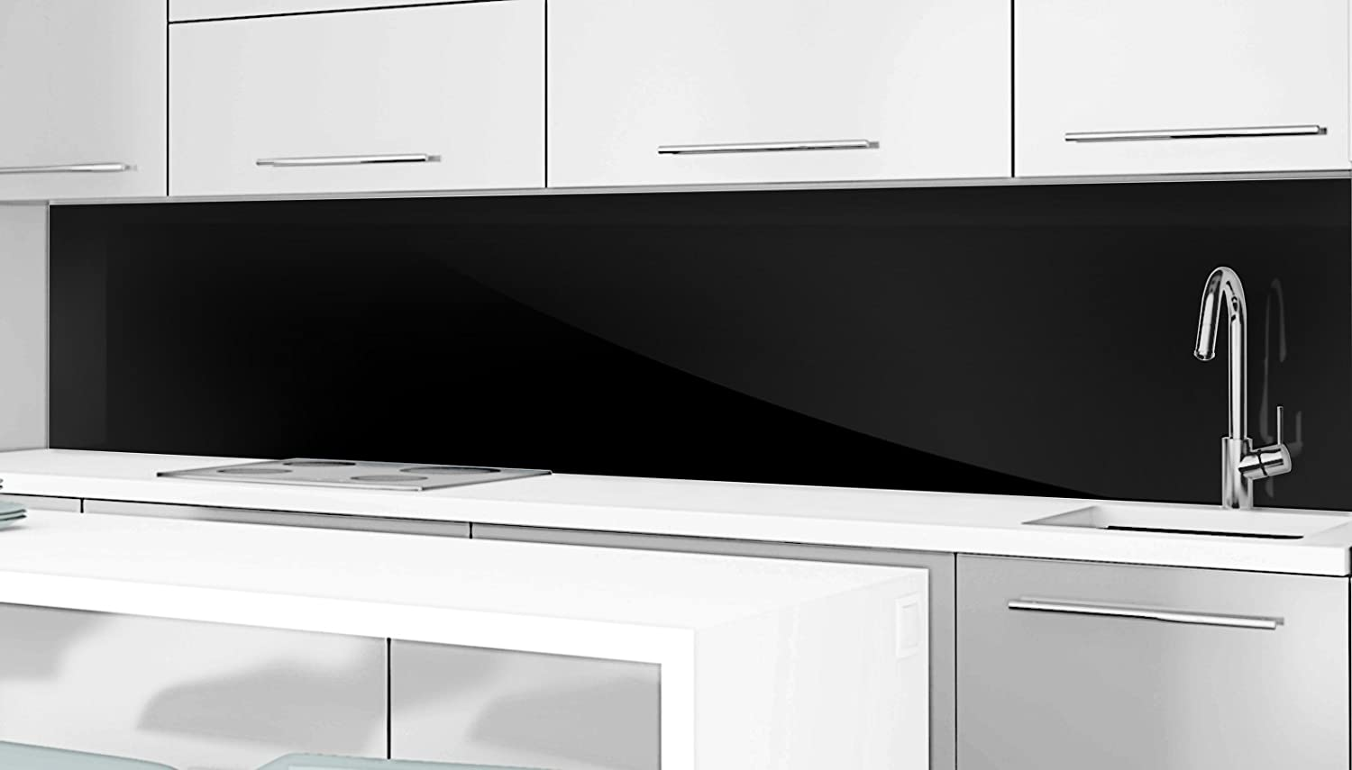 Black Gloss Coloured Acrylic Splashback - Scratch Resistant High Gloss Glass Effect - All Sizes up to 3 Meters Long (1 M, 1,000 Millimeters) Enhnance Your Rooms Ltd