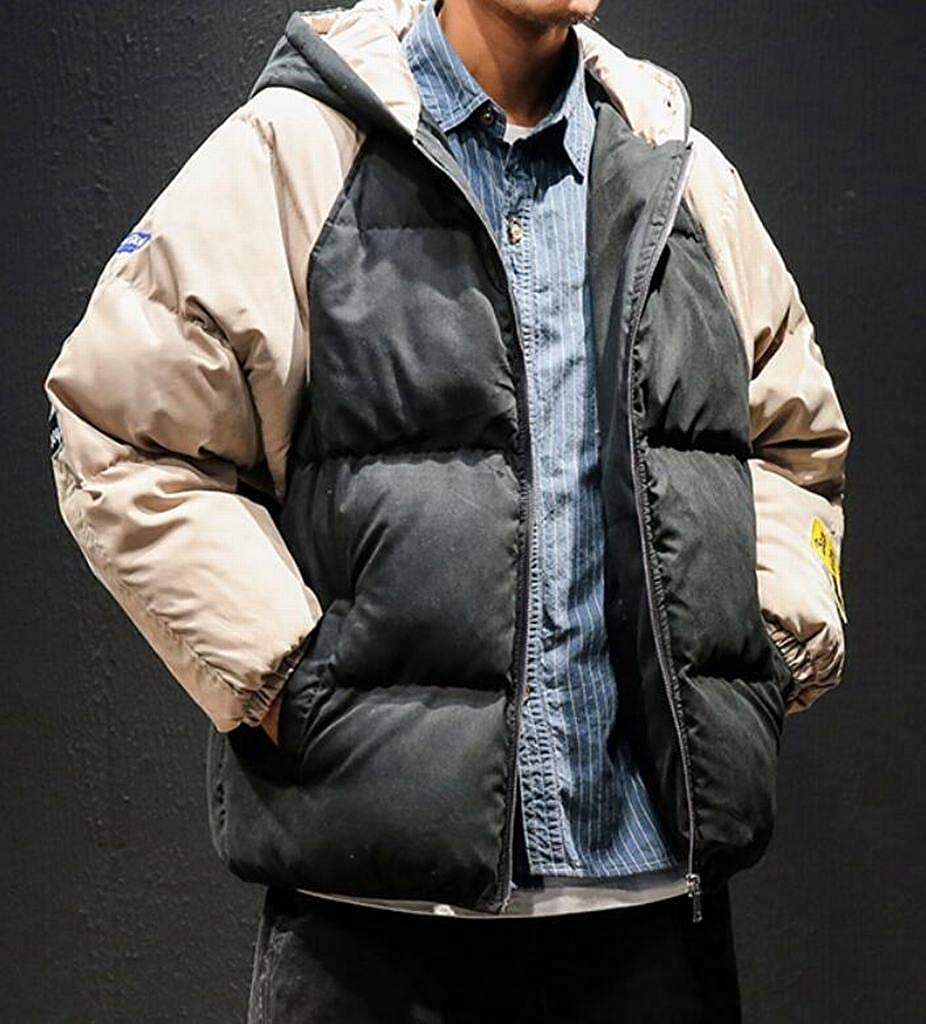 Suncolor8 Men Color Block Loose Winter Thickened Zip Front Down Quilted Coat Outerwear