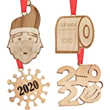 2020 Christmas Ornament Quarantine, AoGer Personalized Engraved Rustic Wood Hanging Decorating Kit, Santa Claus with Mas'k, T