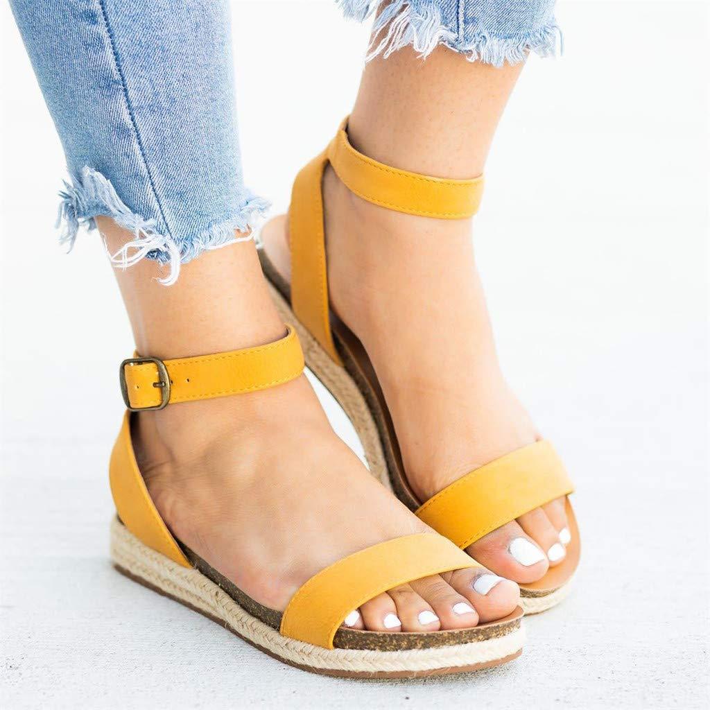 Copercn Womens Ladies Leopard Grain Open Toe Woven Straw Flatform Single Ankle Buckle Strap Summer Fashion Casual Flat Sandals