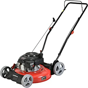 PowerSmart Lawn Mower, 21-inch & 170CC, Gas Powered Push Lawn Mower with 4-Stroke Engine, 2-in-1 Gas Mower in Color Red/Black, 5 Adjustable Heights (1.18''-3.0'' ), DB2321CR