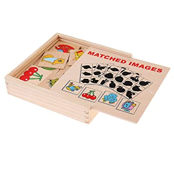 SN Toy Zone High Quality Wooden Montessori Image Shape Puzzle and Block Puzzle Matching Puzzle- Shadow Matching