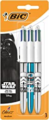 Star Wars BIC 4 Colours Shine Ballpoint Pens Assorted Metallic Body Colours 3 Pack