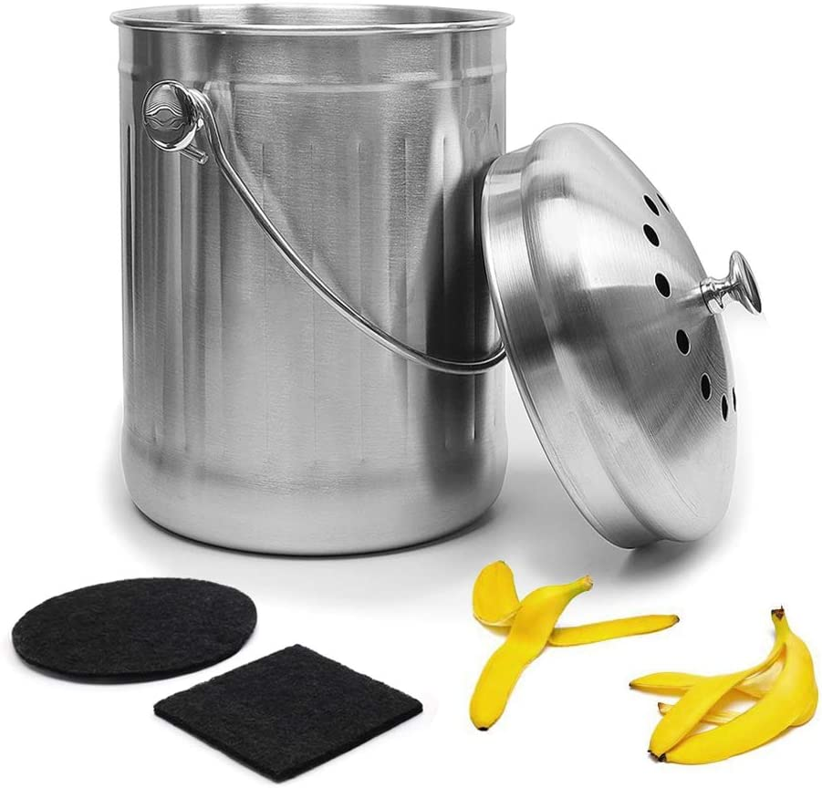 Give Me Stainless Steel Compost Bin Kitchen Compost Bin Gallon Compost Bucket with Counter Bins Filter, Home Organic Composter Bin for Kitchen Waste