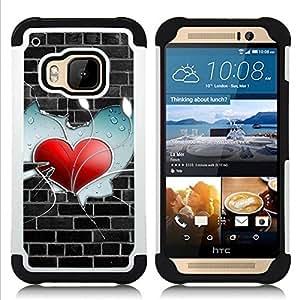 "Hypernova Híbrido Heavy Duty armadura cubierta silicona prueba golpes Funda caso resistente Para HTC One M9 /M9s / One Hima [Heart Pared""]"