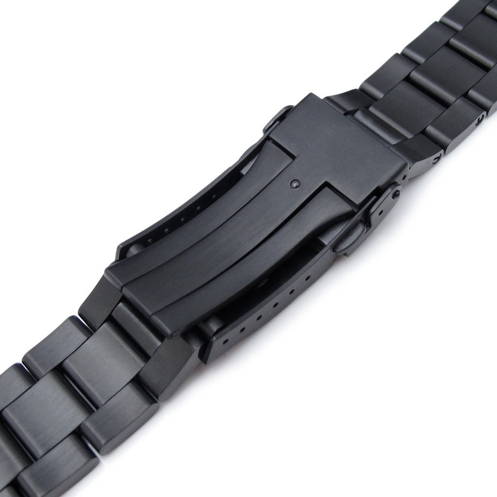 20mm Super Oyster Metal Watch Band for SEIKO Sumo SBDC001, PVD Black, Sub-Clasp by Seiko Replacement by MiLTAT
