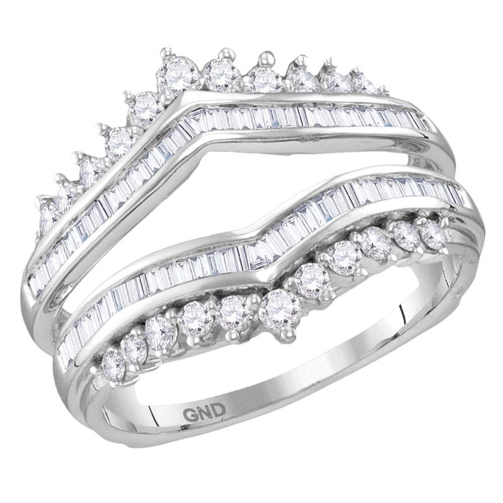 14kt White Gold Womens Round Diamond Wrap Ring Guard Enhancer Wedding Band 3/4 Cttw (I1-I2 clarity; H-I color)