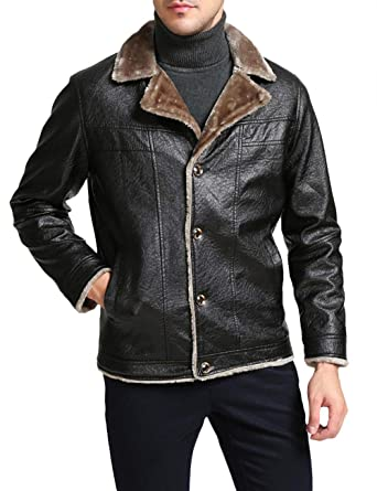 Somthron Men S Oversize Faux Leather Fuzzy Button Down Bomber Jacket