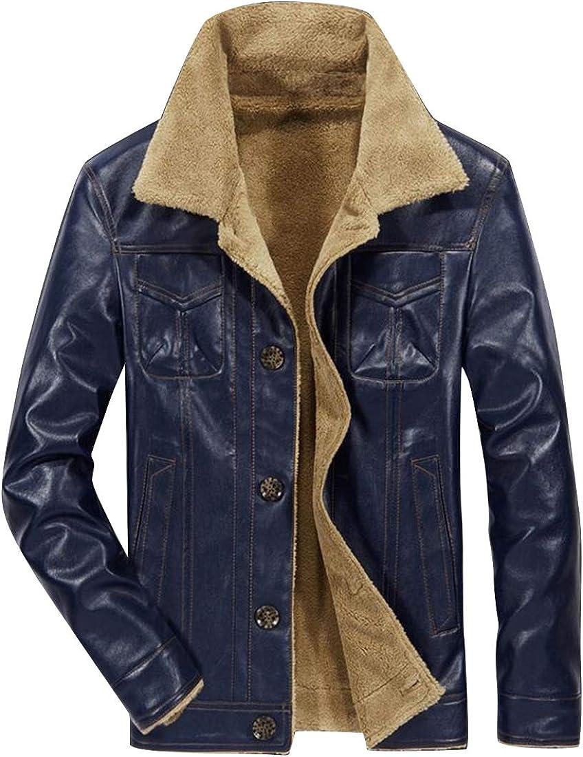 BOBOYU Mens Winter Business Faux Fur Lined Pu Leather Single Breasted Slim Fit Windbreaker Jacket Coat