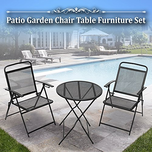 (BenefitUSA 3 Piece Bistro Patio Set Table and Chairs Outdoor Wrought Iron Cafe Set Metal)