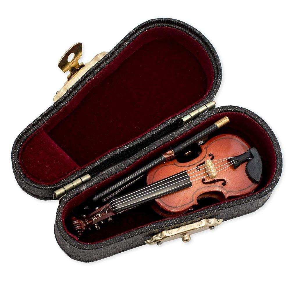 Sothat Regalos Viol/ín Instrumento Musical R/éplica En Miniatura con Estuche 8x3Cm