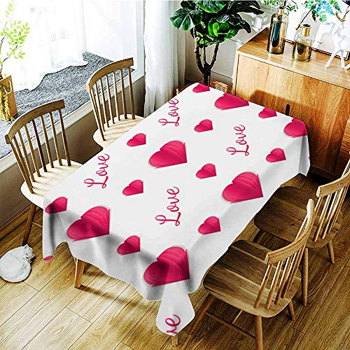 AGONIU Washable Tablecloth,Seamless Pattern of Paper Hearts and Text Idea for Your Design on The Valentine s Day Design Wrapping Paper Cut Illustration Love,Party Decorations Table Cover C -