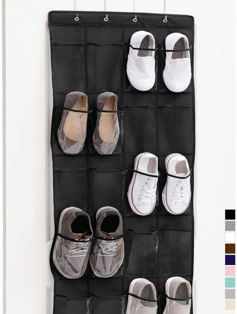 Gorilla Grip Premium Over The Door Clear Pocket Shoe Organizer, 24 Large Durable Pockets, 64x19, Hooks, Stores Shoes, Home Storage Organizers Hang on Doors, Organize Sneakers, Slippers, Black