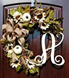 Fall Thanksgiving Monogram Wreath with Cream Pumpkins and Sunflowers Mixed with Fall Berries and Leaves
