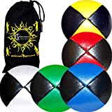 5x Pro Thud Juggling Balls - Deluxe (LEATHER) Professional Juggling Ball Set of 5 + Fabric Travel Bag! (Black/Mix)