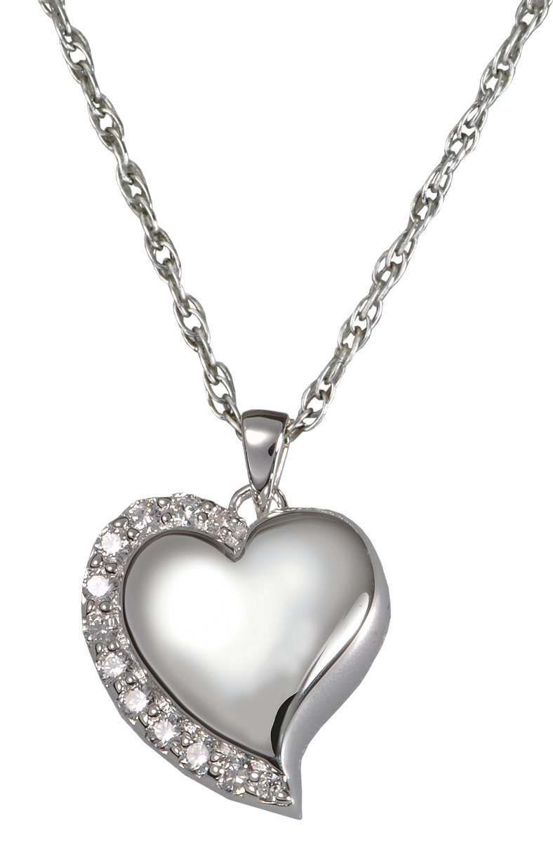 Memorial Gallery 3806s Shine Heart Sterling Silver Cremation Pet Jewelry