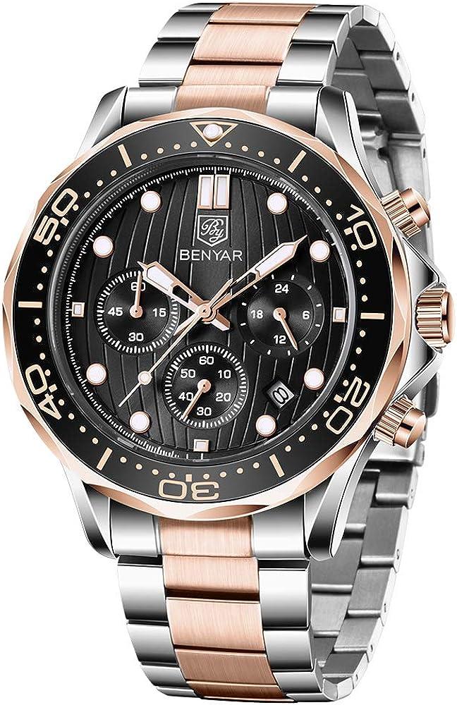 Reloj de Pulsera para Hombre, con cronógrafo Militar y Esqueleto de Cuarzo, para Hombre, Esfera Grande, Reloj de Pulsera para Hombre, Color marrón (Plata-)