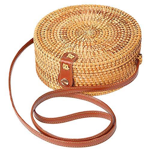 Rattan bag Round Crossbody Woven Bag Bali Beach Circle Tote Bag for Women (Leather buckle)