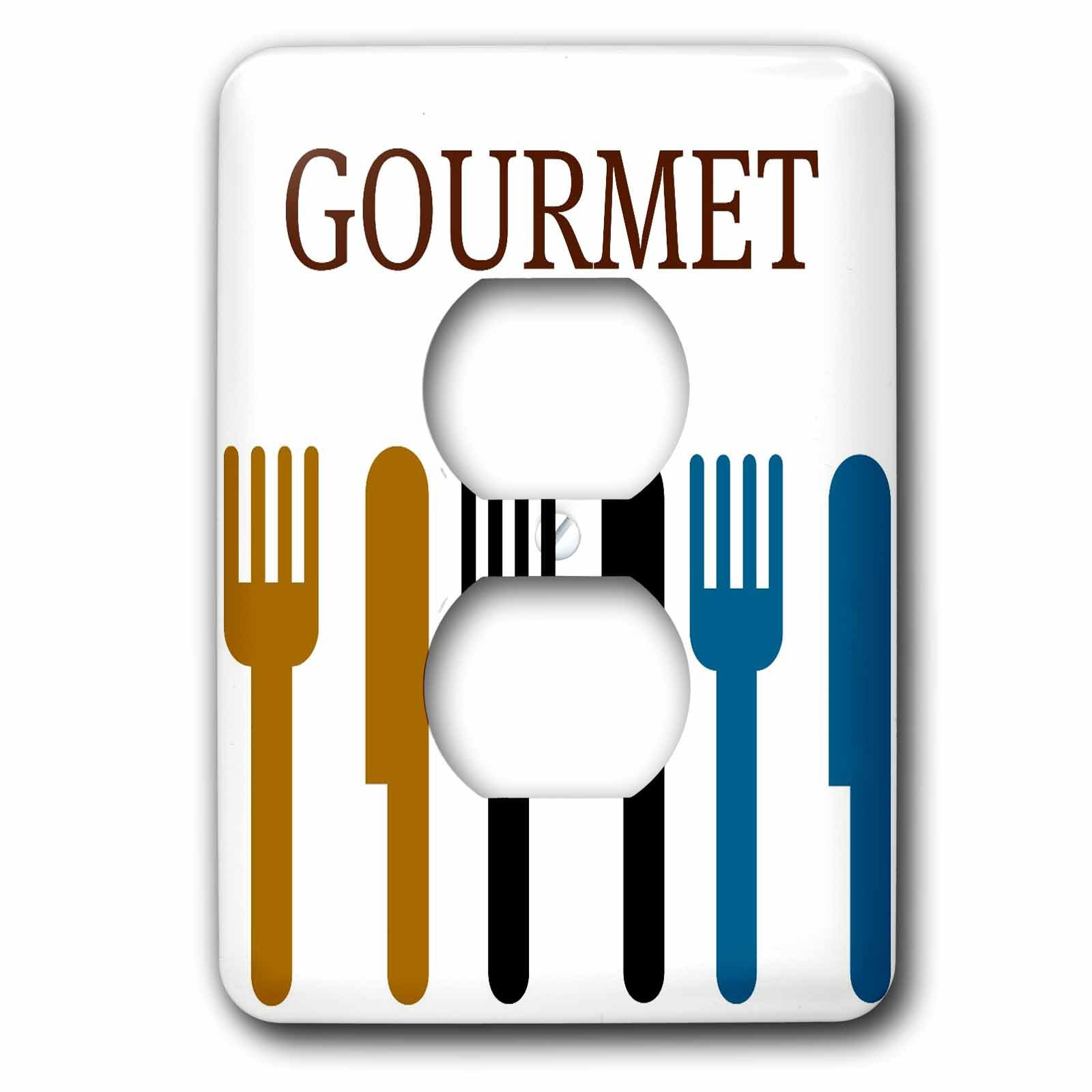 3dRose lsp_44687_6 6 Gourmet Fork and Knife-Dining-Dinner Art-2 Plug Outlet Cover