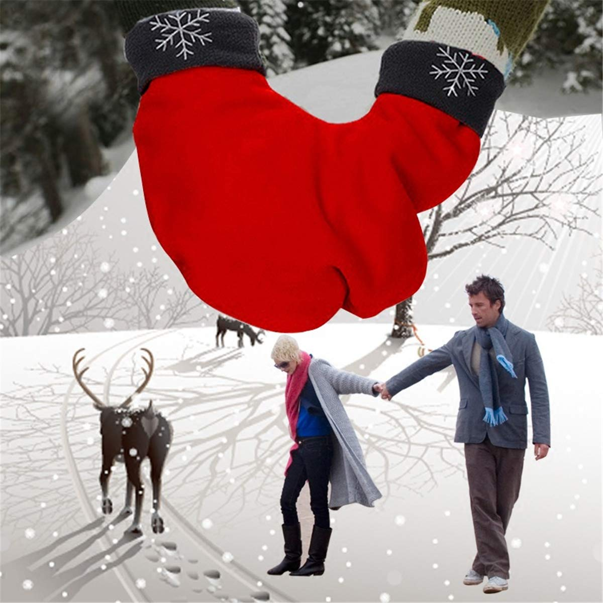 Christmas Lovers Couples Winter Mittens Gloves Valentines Gift Black