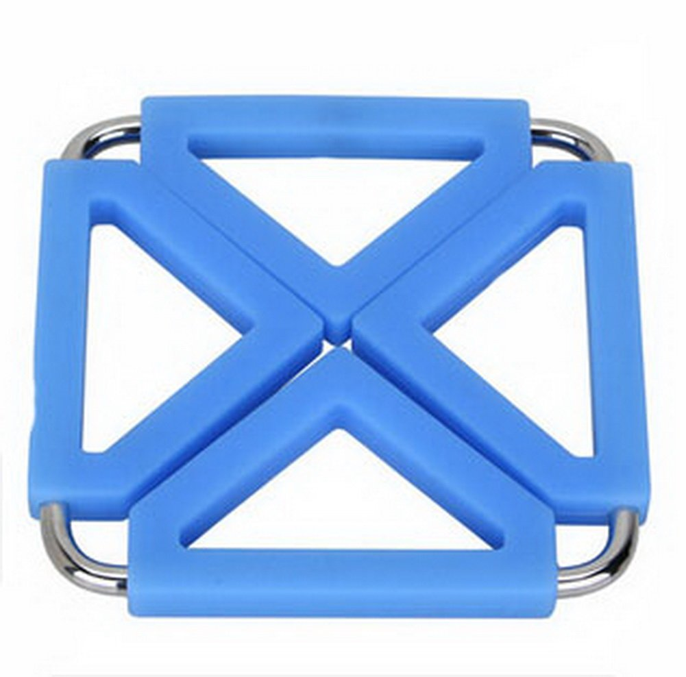 Square Stainless Steel Silicon Potholders Pot Holder,Heat-proof Mat(Blue)