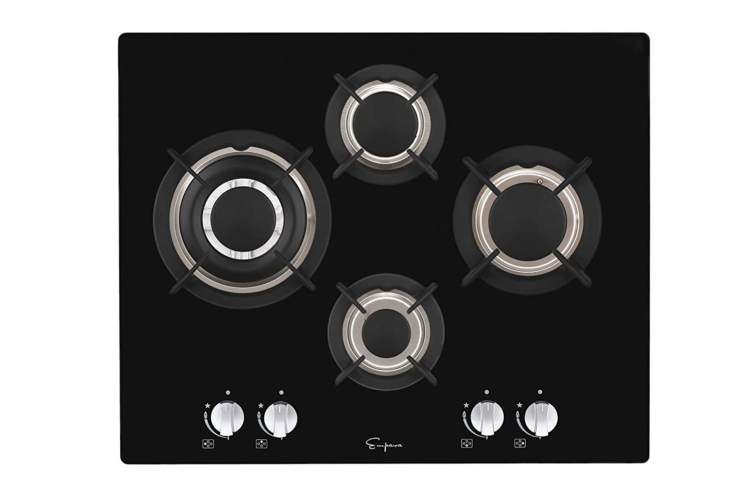 "Empava 24"" 4 Italy Imported Sabaf Burners NG/LPG Convertible Gas Stove Cooktop Tempered Glass Black EMPV-4L6A"