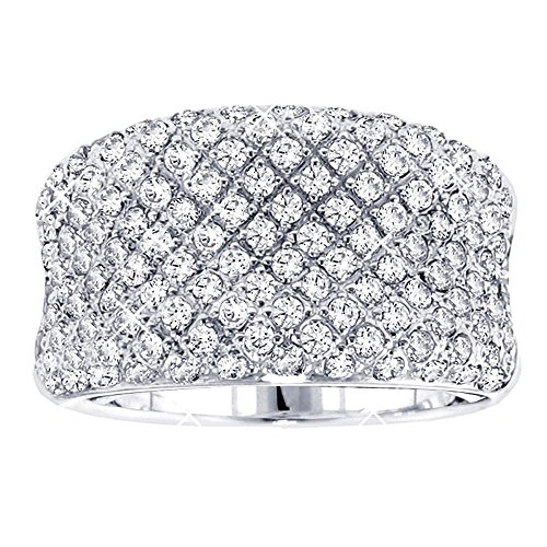 VIP Jewelry Art 2.00 CT TW Pave Set Concave Diamond Anniversary Ring in 14k White Gold - Size 9