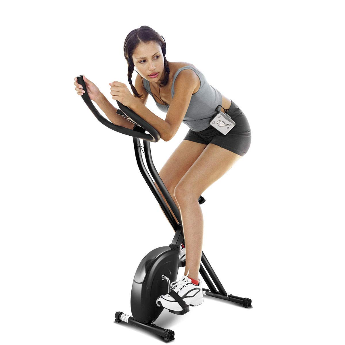 Goplus Folding Exercise Bike Cardio Workout Upright Cycling Magnetic Fitness Stationary Black