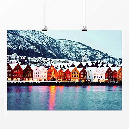 Pôster - Cidade vilarejo neve colorido 21x29cm