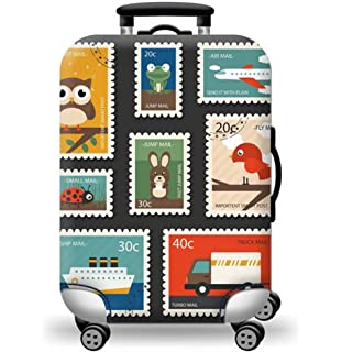 26-28 inch Jacksome Oil Painting Travel Luggage Cover Protector Suitcase Washable Cover Elastic Size L Fit 18 to 32