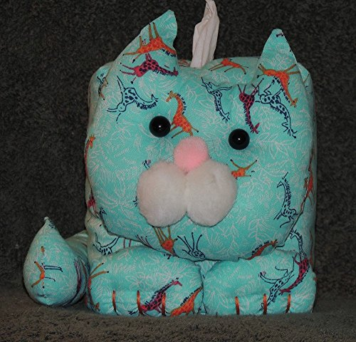 """- FREE SHIPPING! 7"""" x 7"""" x 7"""" Kitty Tissue Box Cover. Giraffes on Aqua Background. Fully lined. Hand Made."""