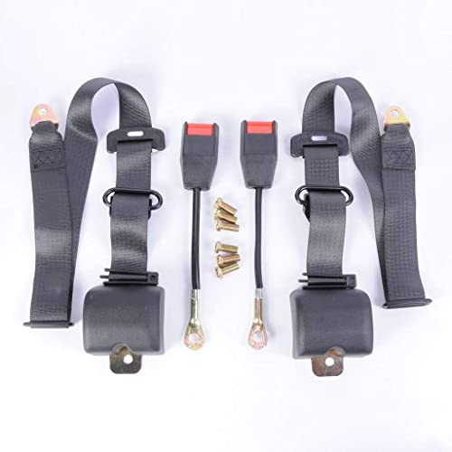 SanguineSunny Car New Black Three Point Pair Seatbelt Seat Safety Belt Buckle Lock Pad Set