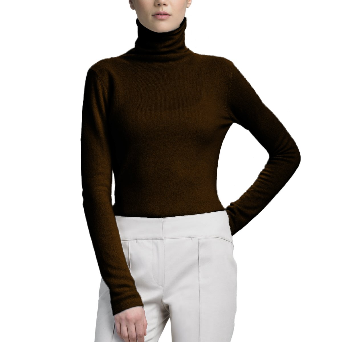 Parisbonbon Women's 100% Cashmere Turtleneck Tops Sweater Color Chocolate Size 1X by Parisbonbon (Image #1)